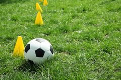 Soccer ball on a background of green grass. Near the chips stock photos