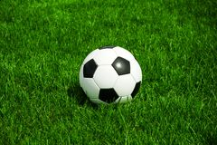 Soccer ball balck and white on green grass natural in sunny summertime royalty free stock photography