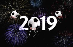 Soccer ball balloons 2019 New Year. Soccer ball balloons and fireworks in black night sky for New Year 2019 celebration vector illustration