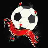 Soccer, ball and banner Stock Image