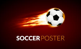 Soccer ball banner with fire ball in motion. Soccer creative banner. Football background Stock Photos