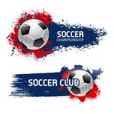 Soccer ball banner set, football sport game design. Soccer or football sport game banner set. Soccer ball with grunge brush stroke on background vector poster stock illustration