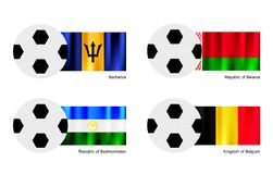 Soccer Ball with Barbados, Belarus, Bashkortostan  Royalty Free Stock Photos