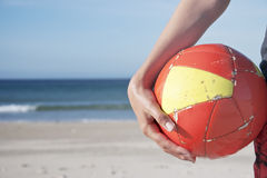 Soccer ball beach Stock Photos