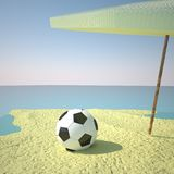 Soccer ball on the beach Royalty Free Stock Images