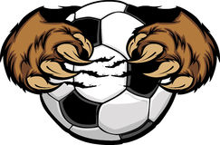 Soccer Ball With Bear Claws Image. Cartoon of Bear Claws holding a Soccer Ball Royalty Free Stock Photography