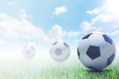 Soccer ball on beautiful day royalty free illustration