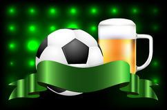Soccer ball, beer and ribbon for your text Royalty Free Stock Image