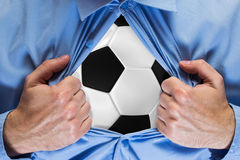 Soccer ball behind a shirt Stock Images