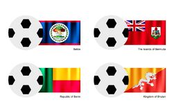 Soccer Ball with Belize, Bermuda, Benin and Bhutan Royalty Free Stock Photo
