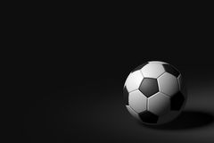 Soccer Ball on Black Background, 3D Rendering Royalty Free Stock Image