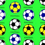 Soccer ball black, yellow, blue, seamless pattern, silhouette. On green background, vector royalty free illustration