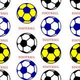 Soccer ball black, yellow, blue, seamless pattern, silhouette. On white background, vector royalty free illustration