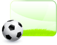 Soccer Ball with Blank Nature Frame Background Royalty Free Stock Photo