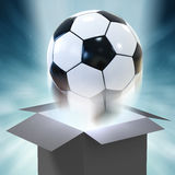 Soccer ball blowing out Royalty Free Stock Images