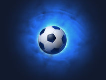 Soccer ball blue background Royalty Free Stock Images