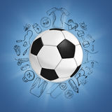 Soccer ball on blue background with sport sketches Royalty Free Stock Photos