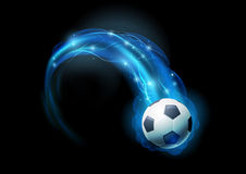 Soccer ball. In blue flames and lights against black background. Vector illustration Royalty Free Stock Photo
