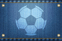 Soccer ball on blue jeans background Stock Photography