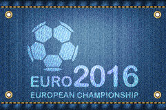 Soccer ball on blue jeans background. Euro 2016 football champio Stock Photography