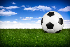 Soccer ball  blue sky I Royalty Free Stock Photo