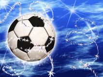 Soccer Ball in the blue starry sky Stock Photography