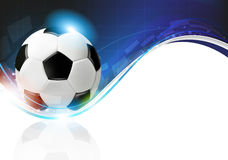 Soccer ball on blue wavy background Stock Photography