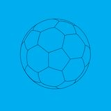 Soccer ball blueprint. Blueprint drawing of a soccer ball Royalty Free Stock Image