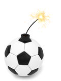 Soccer Ball Bomb With Burning Wick On White Stock Photos