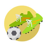 Soccer Ball With Boots Flat Vector Illustration Royalty Free Stock Images