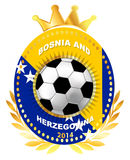 Soccer ball on Bosnia and Herzegovina flag Royalty Free Stock Photos