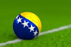 Soccer Ball With Bosnian Flag 3D Render Stock Image