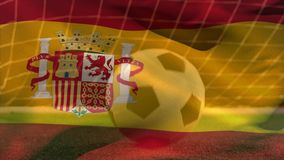 Soccer ball bouncing on grass while Spanish flag waves on the foreground on soccer field. vector illustration