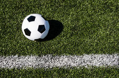 Soccer ball and boundary line Royalty Free Stock Images