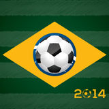Soccer ball and brasil flag Stock Photos