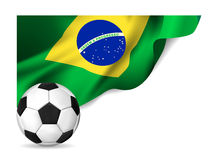 Soccer ball with brasil flag Stock Photography