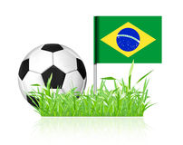 Soccer ball with brasil flag. On white background Royalty Free Stock Photo