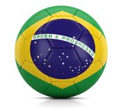 Soccer ball Brazil - Classic football leather ball painted with the brazilian flag 3D illustration. Photo of Soccer ball Brazil - Classic football leather ball Royalty Free Stock Photography