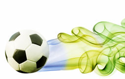 Soccer ball of Brazil 2014. Covered in smoke Royalty Free Stock Photography
