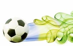 Soccer ball of Brazil 2014. Covered in smoke stock illustration