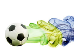 Soccer ball of Brazil 2014. Covered in smoke Stock Photo