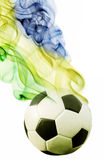 Soccer ball of Brazil 2014. Covered in smoke Royalty Free Stock Images