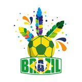 Soccer ball with brazil feathers stock illustration