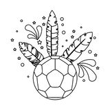 Soccer ball with brazil feathers royalty free illustration