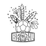 Soccer ball with brazil feathers vector illustration