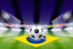 Soccer ball, Brazil flag Stock Photography