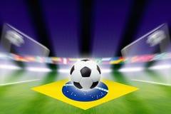Soccer ball, Brazil flag. Abstract green soccer stadium, soccer ball, bright spotlights, soccer goals, Brazil flag stock photography