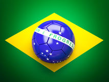 Soccer ball brazil flag. 3d soccer ball brazil flag Stock Photo