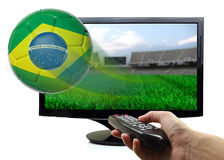Soccer ball with Brazil flag Royalty Free Stock Photo