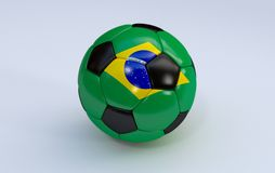 Soccer ball with Brazil flag. Brazil flag on soccer, football ball on white background Royalty Free Stock Photo